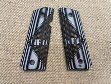 1911 Government Grips Panel Style White Black NRA Square Checkered G10