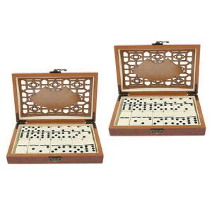 2 Set Dominoes Tiles Set Traditional Board Game Toys Gift w Wooden Box