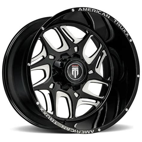 4 American Truxx AT1900 Sweep 20x9 8x180 12mm Black Milled Wheels Rims
