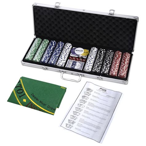 500 Chips Poker Dice Chip Set W Silver Aluminum Case Adult Texas Game