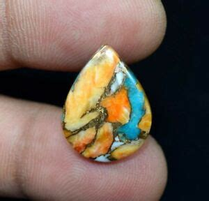 8 55 Cts Natural Spiny Oyster Copper Turquoise Pear Cabochon Loose Gem
