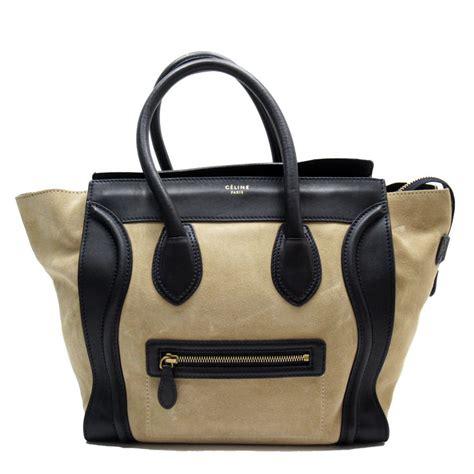 Auth CELINE Luggage Mini Shopper Beige Black Suede Leather Handbag