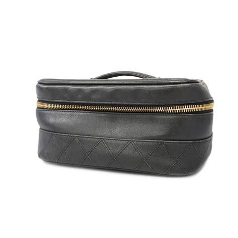 Auth CHANEL Bicolore Black Lambskin Vanity Bag