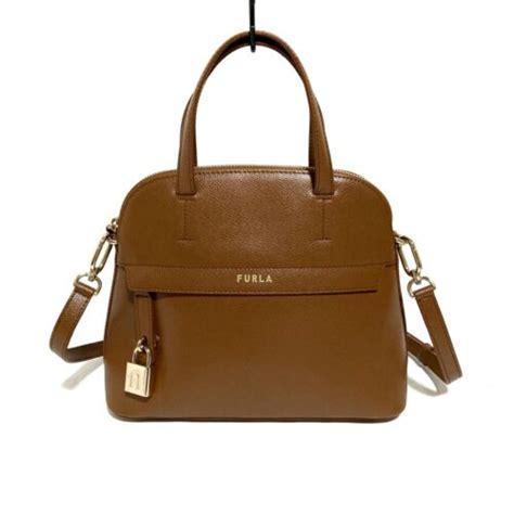 Auth FURLA Piper Brown Leather Handbag