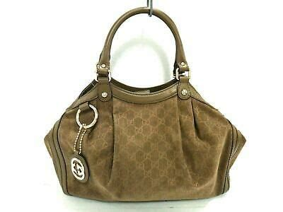 Auth GUCCI GG Sukey 211944 DarkBrown Beige Corduroy Leather Tote Bag