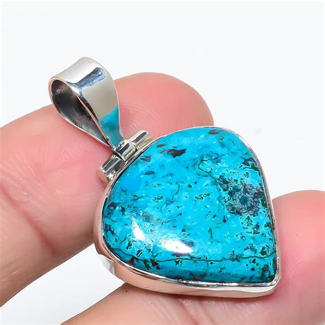 Chrysocolla Gemstone 925 Sterling Silver Jewelry Pendant 1 5 8330