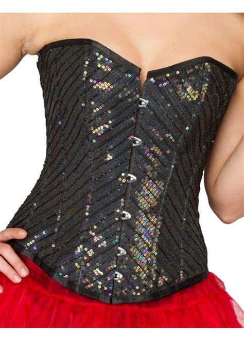 Cotton Silk Shapewear Overbust Bustier Black Sequin Plus Size Corset C