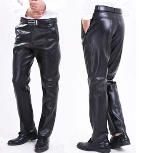 Mens Casual Warm Leather Trousers Fleece Lined Motorcycle Straight Leg