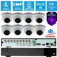 Q SEE Security System CCTV 8 Cameras QTH87 2 2TB DVR 4K UHD 5 MP WEATH