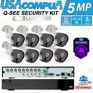 Q See Security Camera System 8 CH Bullet Camera 5MP PIR hard disk opti
