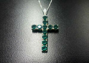 Solid Silver 14K White Gold Over 3 Ct Round Emerald Cross Pendant Chai