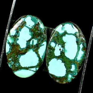 TIBET TURQUOISE EXCELLENT NATURAL MATCHED PAIR OVAL CAB TOP GEMSTONE 0