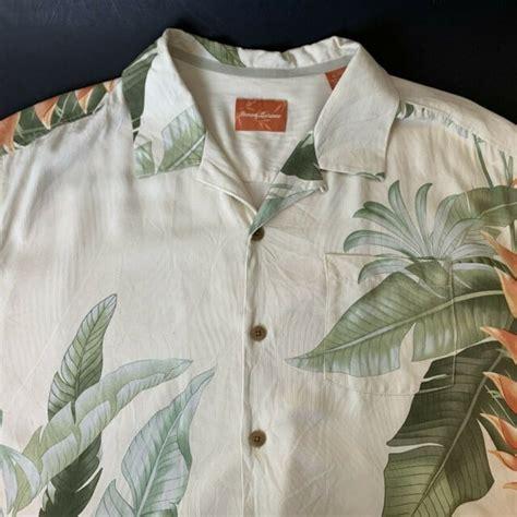Tommy Bahama Mens 100 Linen Yellow Short Sleeve Hawaiian Camp Shirt Sz