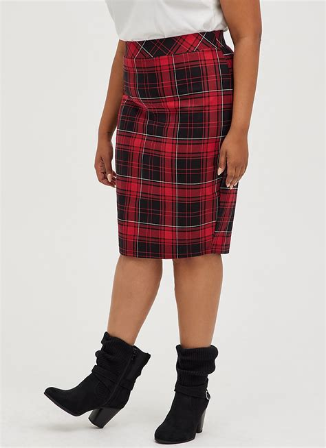 Torrid Red Black Plaid Pencil Skirt Sz 16