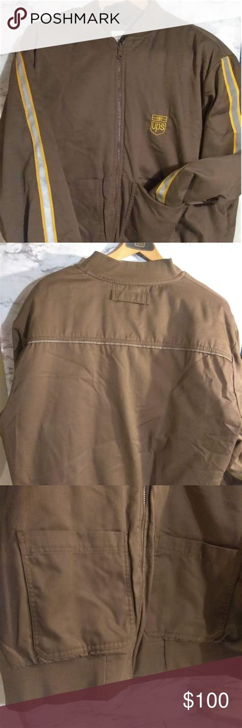 UPS XL Uniform Jacket Full Zip 3M Thinsulate Package Delivery Brown Tw