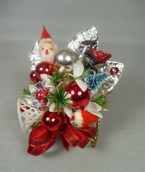Vintage Christmas Corsage Ornament kitchy Silver Red