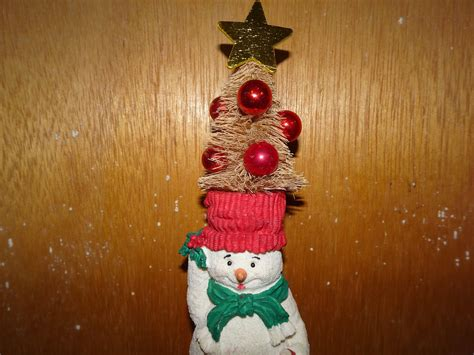 Vintage Christmas Frosty Snowman Bottle Brush Bulbs Tree up cycled Ass